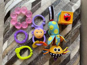 Lot Of 6 sassy crab rattle / teething , Hanging Monkey Toys