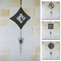 Metal Hanging Garden Wind Chimes Spinner Round Crystal Home Yard Ornament Decor