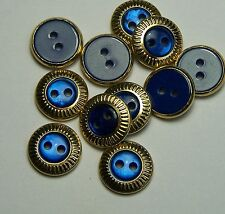 10pc 14mm Gold and Royal Blue 2 Hole Cardigan Trouser Kids Button 0128