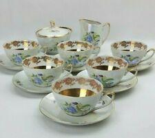 Chodziez 14 Piece Lustre Tea Set - Floral & Gold Gilt - Poland Vintage