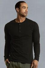 Mens Henley Long Sleeve Shirts Cotton Button Down Crew Neck Casual S M L XL XXL