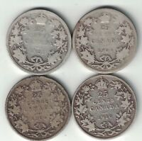 4 X CANADA 25 CENTS QUARTERS KING EDWARD VII STERLING SILVER COINS 1902 - 1910