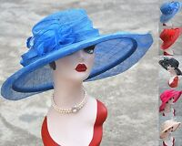 Womens Kentucky Derby Wedding Sinamay Wide Brim Church Bridal Mother's Hat T126