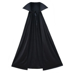 "40"" Black Cape with Stand-Up Collar ~ ADULT/CHILD VAMPIRE SUPERHERO COSTUME CAPE"