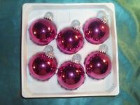 6 alte Christbaumkugeln Glas pink glänzend Weihnachtskugeln Christbaumschmuck