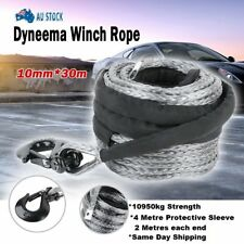 Winch Rope 10MM x 30M Dyneema SK75 Hook Synthetic Car Tow Recovery Cable