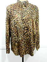 Chaps Long Sleeve Button Front Shirt Size 1X Plus Animal Print blouse career