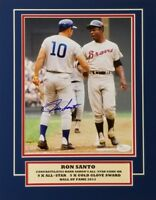 Ron Santo Signed Chicago Cubs Matted 11x14 Display w/ Hank Aaron (JSA COA)