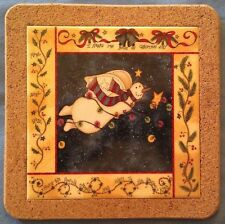 "Flying Angel Snowman by L. Spivey on 7.5"" square ceramic & cork tile trivet"