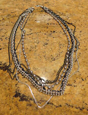 Nordstrom Sequin Layer Necklace Pearl Chain Long Strand Multi Silver Gray!