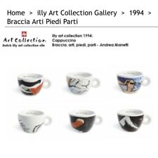 Illy Collection Richard Ginori 6 Espresso Cups Saucers MODERN ART ITALY 1994