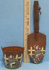 Spade & Miniature Bucket in Rusted Look & Painted Floral Wheel Barrel Design