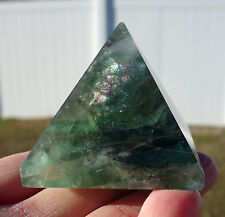 Purple & Green Fluorite Polished Crystal Pyramid Point Rainbows Reiki Healing