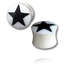 PAIR OF INLAY STAR HORN 6g 4MM plugs body jewelry UNIQUE GAUGES