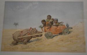 Vintage Suédois Artiste Robert Hogfeldt Humoristique Native Africain Enfants
