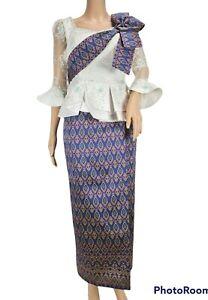 Khmer Cambodia Set Traditional White Lace Top Korean Silk Purple Skirt Size L