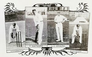 England Cricketers Strudwick, T Hayward, LC Braund & AA Lilley. Antique Postcard