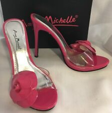 Shoes ANNE MICHELLE Slides 4 1/2 High Heels HOT PINK BARBIE Patent Leather 6.5 M