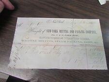 NEW YORK BELTING AND PACKING COMPANY  - NEW YORK   - BILLHEAD - 1864