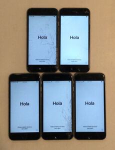 LOT OF FIVE IC LOCKED APPLE iPhone 6S PHONES WITH PHYSICAL DAMAGE FOR PARTS B06L