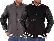 Big Dawg Special Mens Boys Faux Leather Sleeve Bomber Varsity Baseball Jacket SK