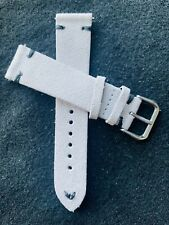20mm LIGHT GRAY Vintage Suede Leather watch band strap BLACK stitch Fast Ship
