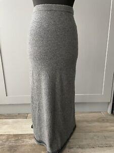 Monsoon Grey Wool Mix Knitted Maxi Tube Skirt Size UK10