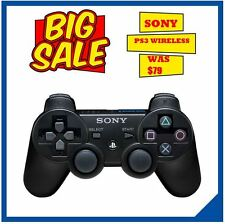 NEW Sony Playstation 3 PS3 Dualshock Wireless Black Controllers PS