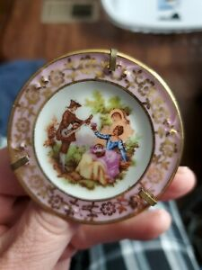 Vintage Miniature Ceramic Limoges Plate on Stand with Musician Lovers  Lavender