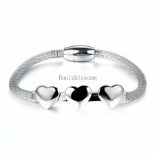 Silver Tone Stainless Steel Women Ladies Mesh Net Chain Bracelet w 3 Hearts Link