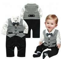 Baby Boy Wedding Christening Tuxedo Suit Bowtie Romper One Piece Outfit Clothes