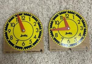 2 Vtg 1974 Judy Instructo Intstructional Mini Clock Wood 209041 Teaching Time