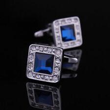 Gioielli da uomo blu in acciaio con pietra principale cristallo