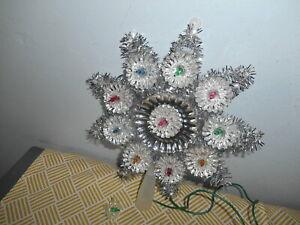 "Sants""s World Kurt ADler 10 Light Diamond Crystal Tree Topper Tinsel & Foil EUC"