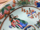 Antique Chinese Porcelain Qing Dynasty 19th Century Celadon Famille Rose Plate