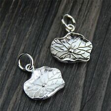 2PCS Pure S925 Sterling Silver Pendant / Craved Lucky Lotus Leaf Pendant /3g