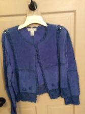SMH Boutique Leather And Crochet XL Jacket Blue