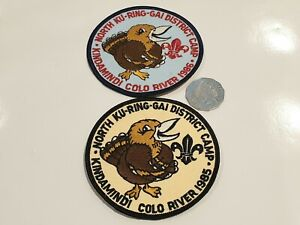 2x Scout Cloth Patches North Ku-Ring-Gai District Camps 1985 & 1986 Kindamindi