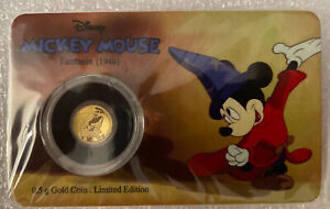 Mickey Mouse 0.5g Gold Coin (2017). Niue 🇳🇺 Fantasia (1940)