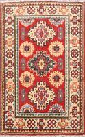 2x3 RED/ IVORY Geometric Super Kazak Oriental Area Rug Wool Hand-knotted Carpet