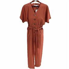 HYPVE  Women's Rust Striped Button  Down Jumpsuit Size Medium