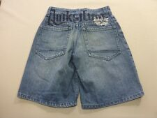 087 BOYS EX-COND QUIKSILVER LOOSE LEG BLUE GRAIN DENIM SHORTS SZE 10 $70 RRP.