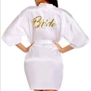 Satin white robe short kimono for bride - 2x