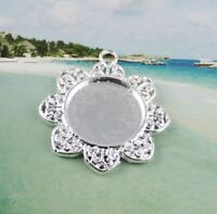 20PCS Silve Plate Cabochon Settings Flower Charm 20mm