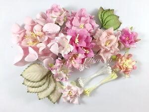 15 Paper Flower Leave Stamens DIY Wedding bouquet Favor Gift Scrapbook SET15-00