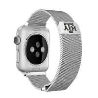 Texas A&M Aggies Stainless Steel Mesh Band Compatible with Apple Watch
