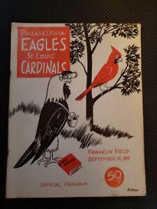 1962 Philadelphia Eagles vs St. Louis Cardinals Program 50 cents