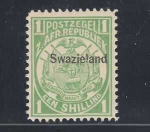 Swaziland Sc 5 MNH. 1889 1s green Coat of Arms with Swazieland overprint, fresh