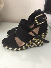 Asos Black And Gold Wedges Size 3