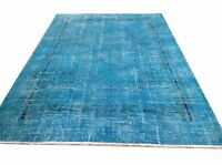 "8' 7"" X 5'11""   Turkish Vintage Turquoise BLUE AQUA hawaii  Overdyed carpet rug"